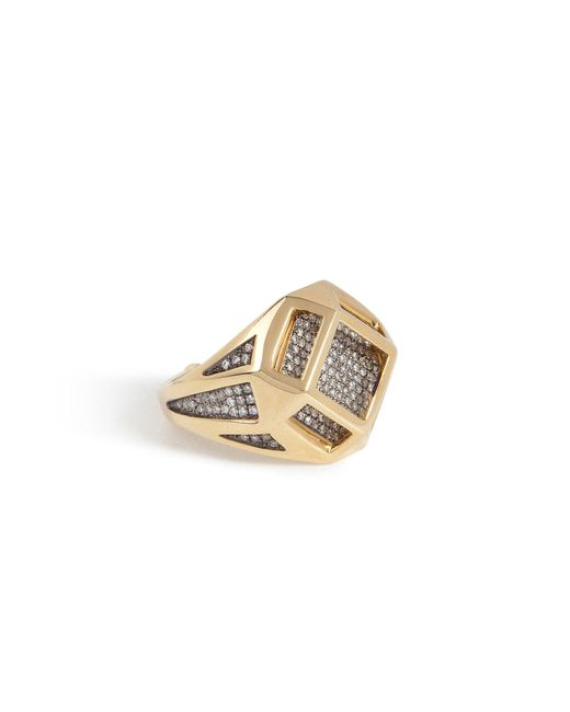 Noor Fares - Metallic 18kt Gold Cube Cage Ring With Diamonds - Lyst