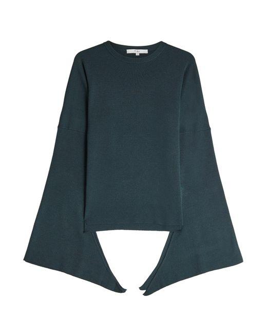Tibi - Blue Tied Sleeve Merino Wool Pullover - Lyst