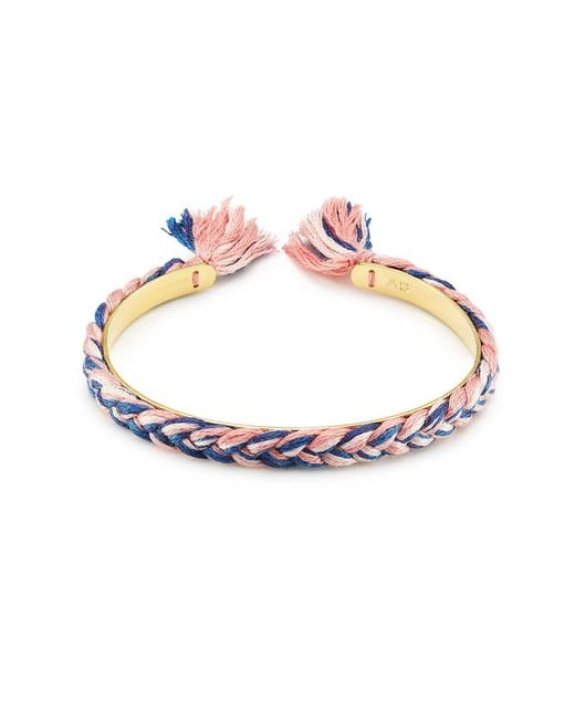 Aurelie Bidermann - Metallic 18k Gold Plated Bangle With Cotton Braid - Lyst