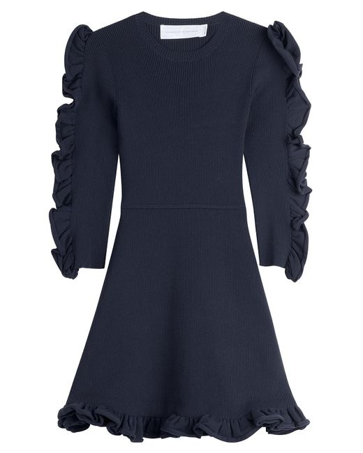 Victoria, Victoria Beckham - Blue Dress With Ruffled Sleeves - Lyst