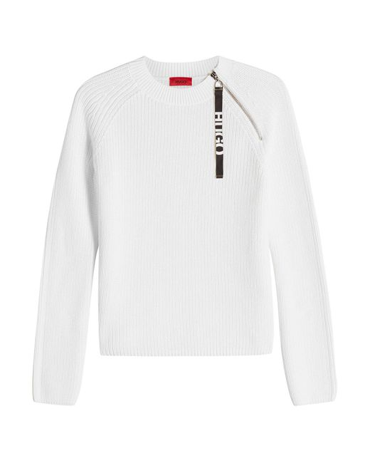 HUGO - White Shailey Cotton Pullover - Lyst