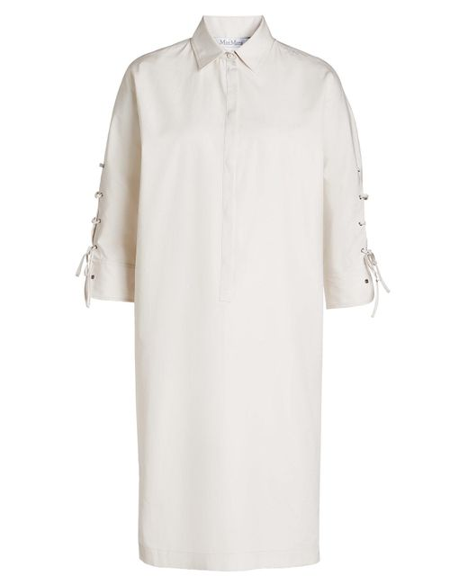 Max Mara - White Cotton Dress With Lace-up Detail - Lyst