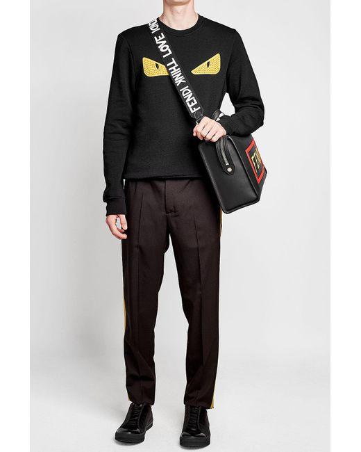 Fendi | Black Printed Fabric Shoulder Strap for Men | Lyst