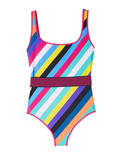 Diane von Furstenberg - Blue Striped Swimsuit - Lyst