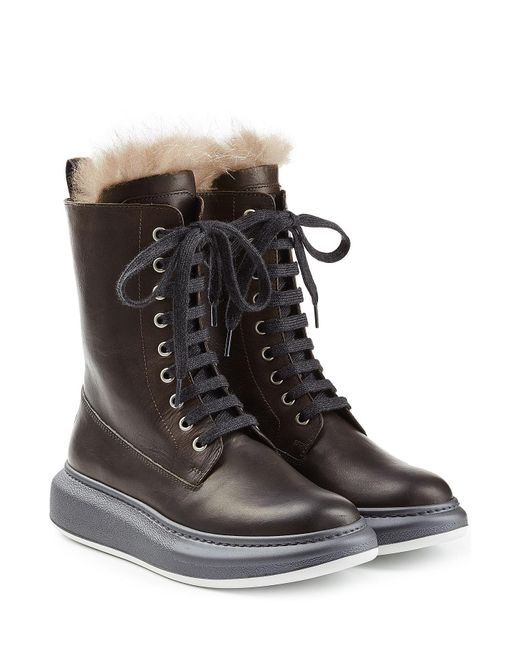 Brunello Cucinelli - Multicolor Leather Ankle Boots With Fur Lining - Lyst