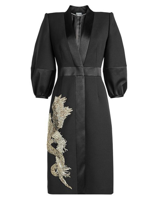 Alexander McQueen - Black Embellished Coat With Wool And Silk - Lyst