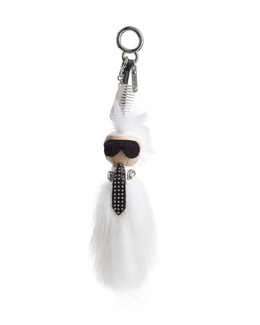 Fendi - White Keychain With Fox Fur - Lyst