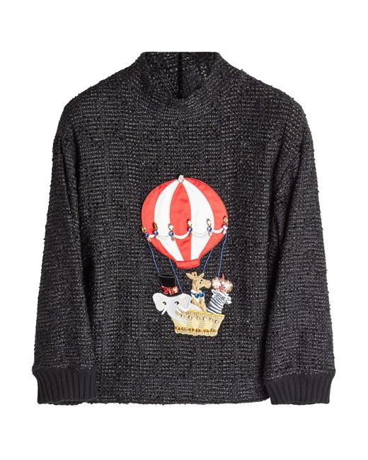 Dolce & Gabbana - Gray Embellished Pullover With Cashmere And Cotton - Lyst
