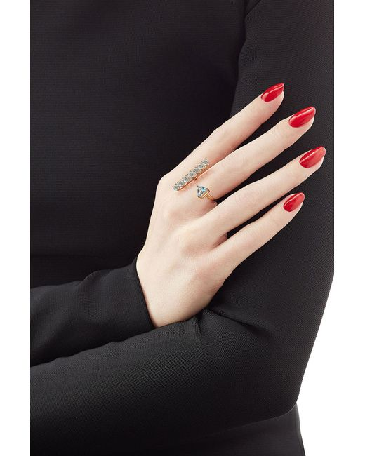 Delfina Delettrez | Metallic 9kt Yellow Gold Ring With Topaz | Lyst