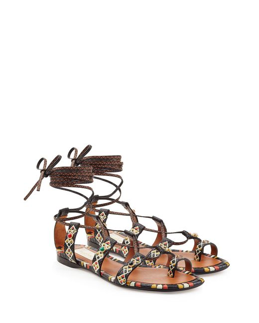 Valentino - Multicolor Rolling Rockstud Embellished Leather Sandals - Lyst