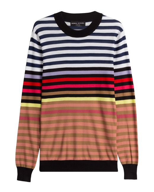 Sonia Rykiel - Multicolor Silk-cotton Striped Pullover - Lyst