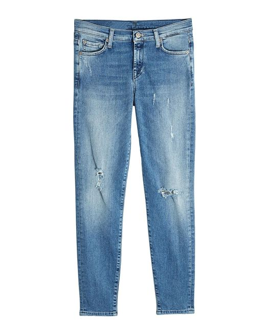 7 For All Mankind - Blue Distressed Skinny Jeans - Lyst