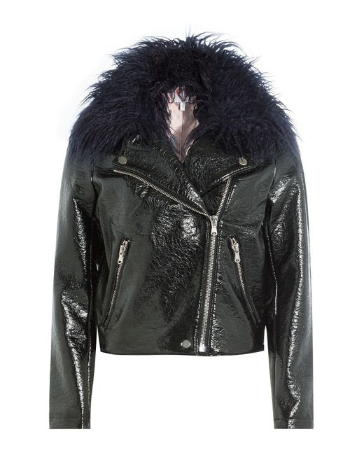 Shrimps | Black Patent Jacket With Faux Fur Collar | Lyst
