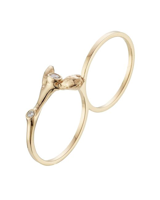 Sophie Bille Brahe - Metallic Arbre 18kt Yellow Gold Double Ring With White Diamonds - Lyst