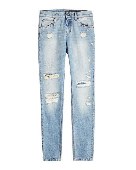 Dolce & Gabbana - Blue Distressed Slim Jeans for Men - Lyst