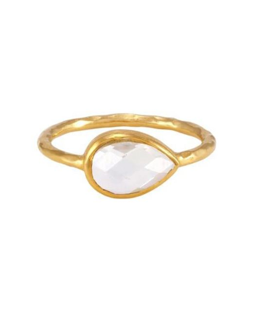 Melinda Maria - Metallic Nell Ring With Clear Stone - Lyst