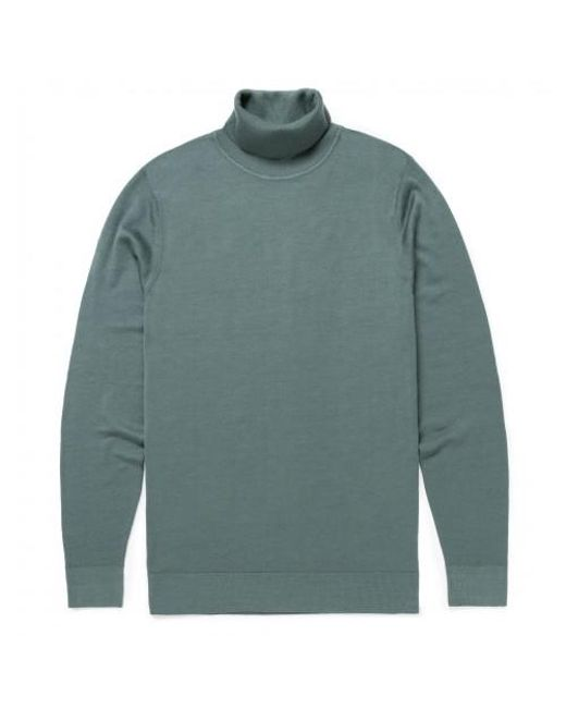 Sunspel - Men's Fine Merino Wool Roll Neck Jumper In Scots Green for Men - Lyst