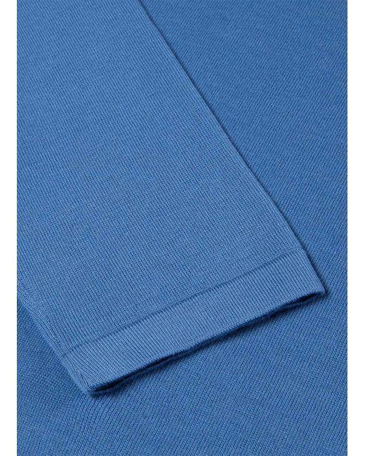 4edf8055 ... Sunspel - Blue Men's Sea Island Cotton Knit Long Sleeve Polo In Mid  Indigo for Men ...