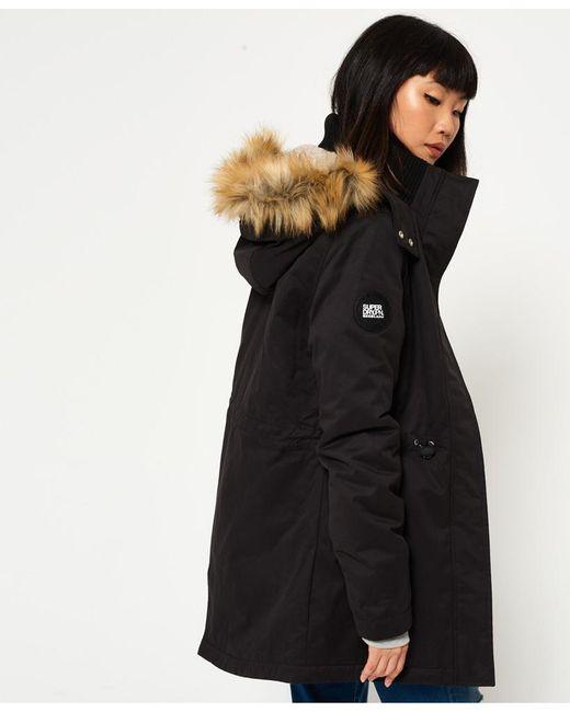Superdry | Black New Model Microfibre Parka Jacket | Lyst
