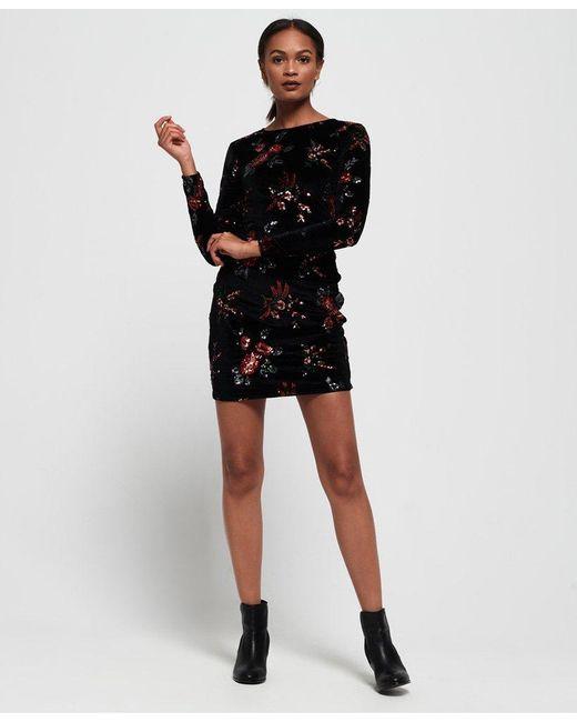 4cc15dbad4 ... Superdry - Black Melrose Sequin Velvet Dress - Lyst ...