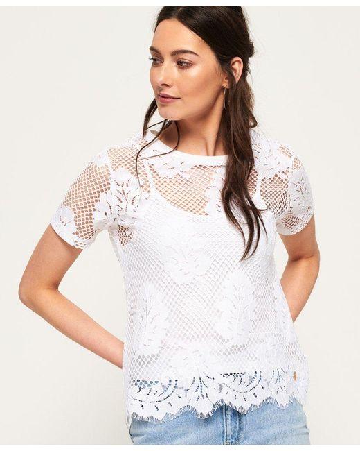 Superdry White Savanna Lace T-shirt