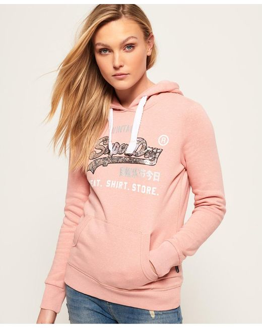 Superdry - Pink Shirt Shop Sequin Hoodie - Lyst