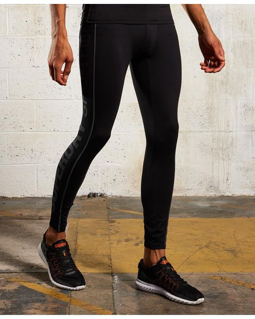 Superdry | Black Sports Athletic Leggings for Men | Lyst
