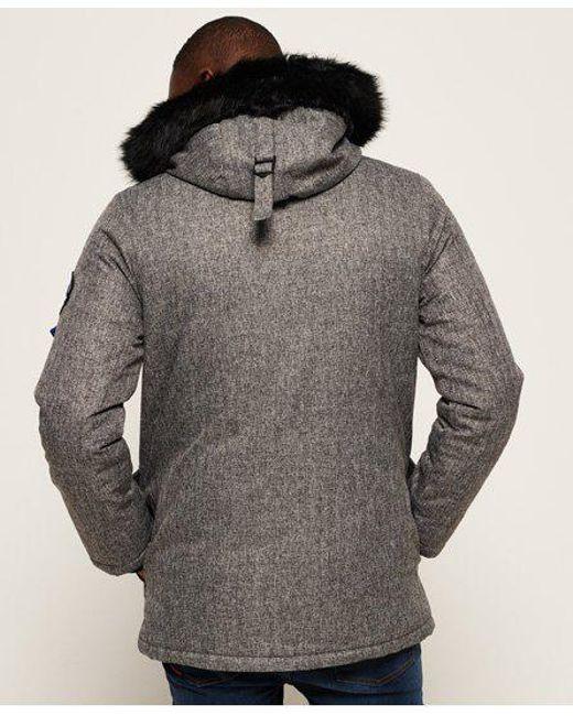 Men Jacket Gray Parka Everest in for Lyst Superdry Tweed nSwpg4qx8v