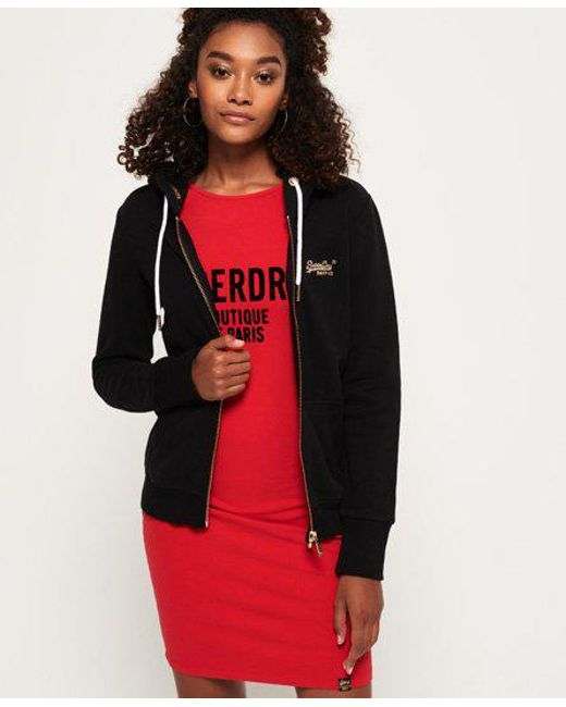 Superdry - Black Orange Label Elite Zip Hoodie - Lyst