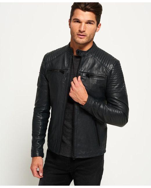 Superdry Leather Quilt Racer Jacket In Black For Men Lyst
