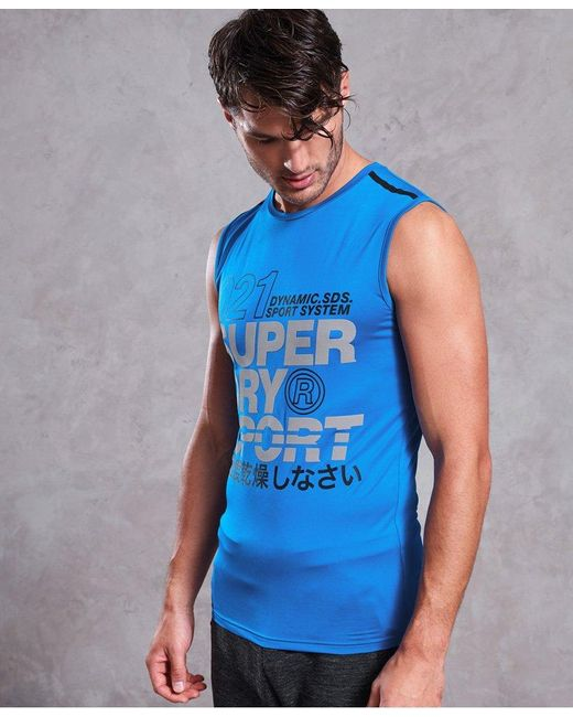 Superdry Blue Active Graphic Tank Top for men