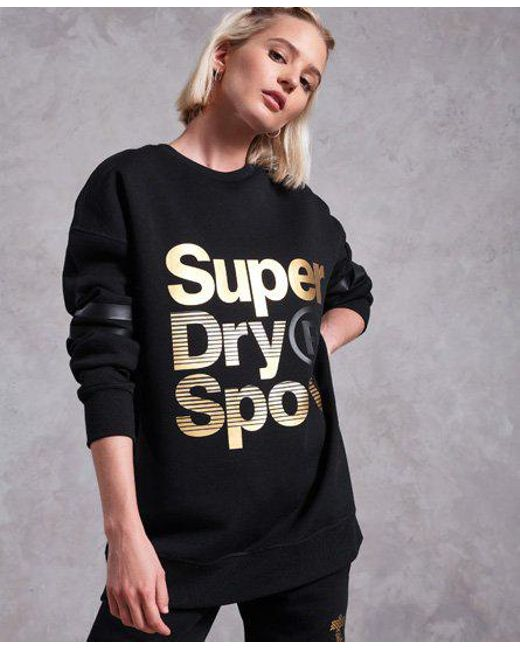 Superdry - Black Gym Tech Gold Supercrew Jumper - Lyst