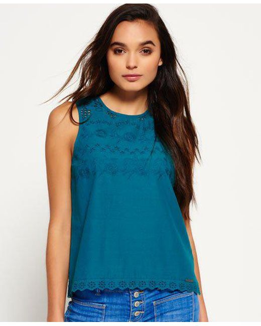 036f032f0c6a Superdry - Blue Broderie Shell Top - Lyst ...