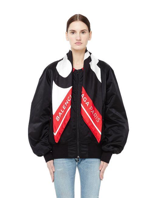 Balenciaga - Black Bomber Jacket With Scarf Collar - Lyst