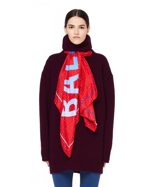 Balenciaga - Red Burgundy Scarf Hoodie Sweater - Lyst