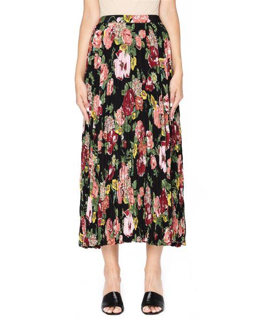 Junya Watanabe - Black Flower-printed Pleated Midi Skirt - Lyst