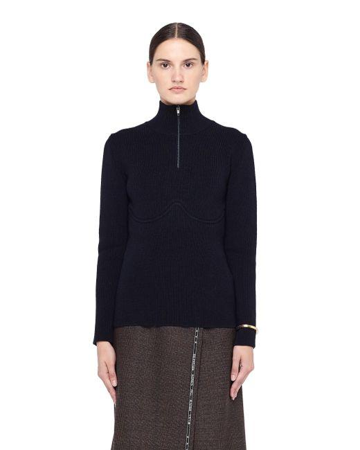Balenciaga | Blue Lingerie-style Wool Turtleneck Jumper | Lyst