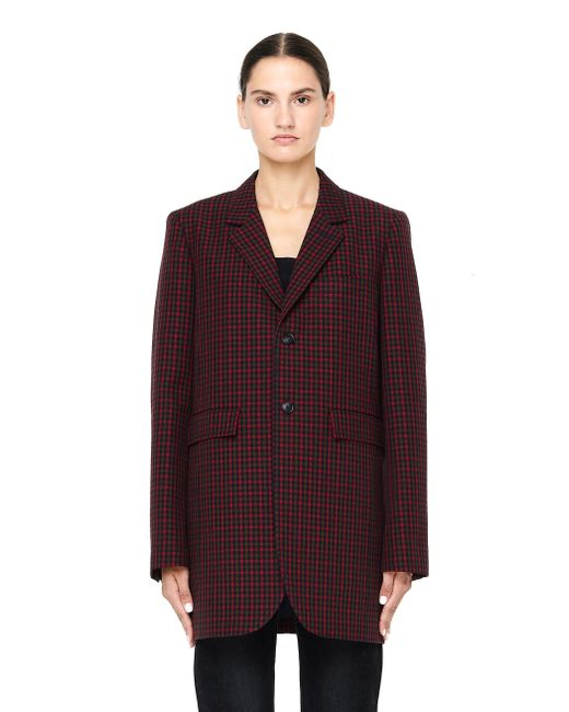 Balenciaga - Red Shaped Single Breasted Burgundy Jacket - Lyst