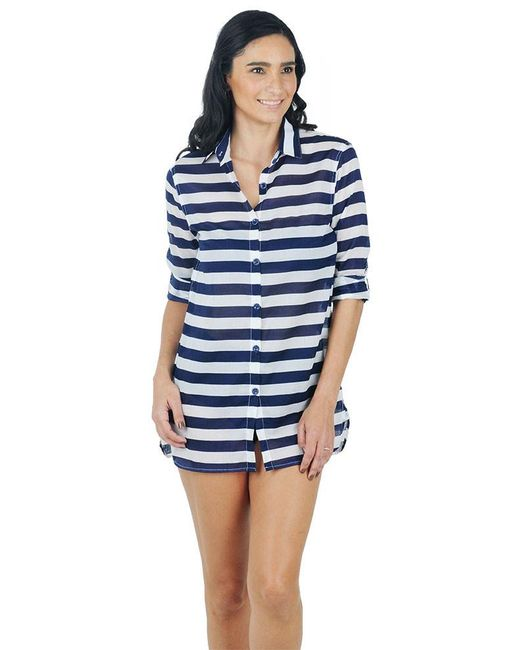 Anne Cole | Blue Rugby Stripe Boyfriend Shirt Cover Up | Lyst
