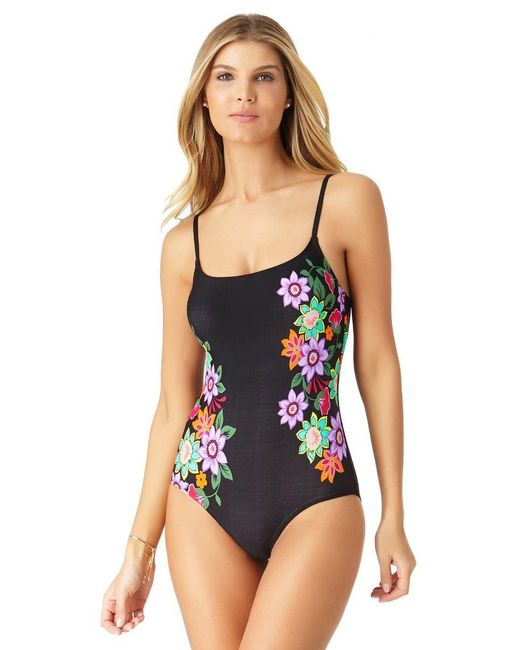 Anne Cole - Black Engineered Floral Lingerie Maillot One Piece Swimsuit - Lyst