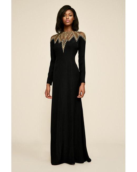 Tadashi Shoji - Black Stone Metallic Embroidery Gown - Lyst