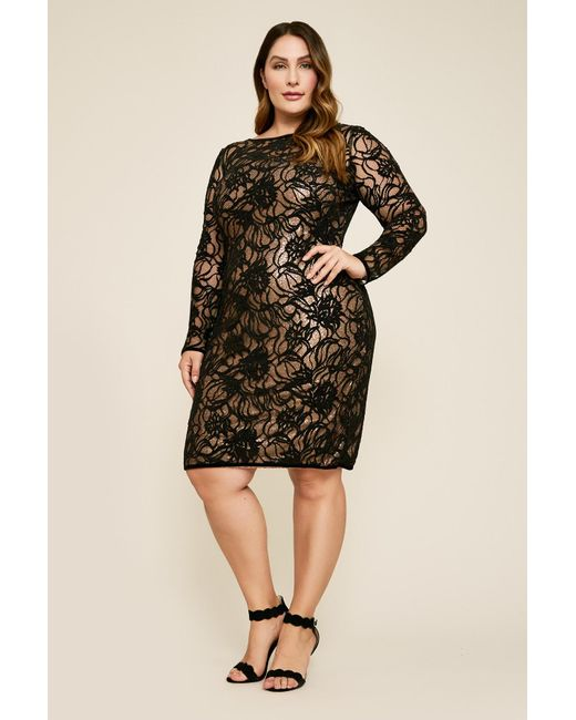 Lyst Tadashi Shoji Vita Sequin Lace Over Dress Plus Size In Black