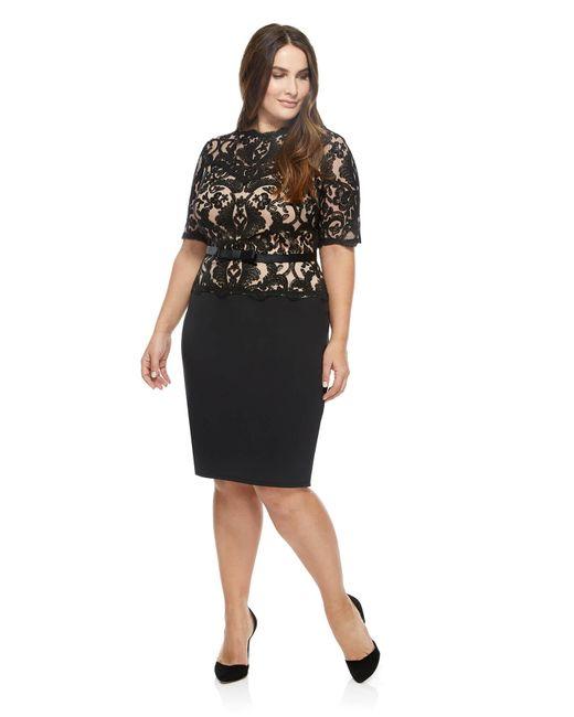 Tadashi Shoji   Brown Short- Seeve Lace Overlay Cocktail Dress   Lyst