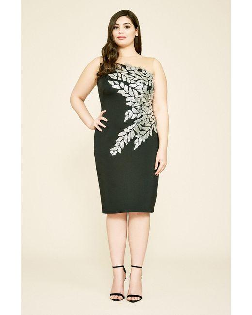 46d99a1f9cd35 Tadashi Shoji - Multicolor Seddon One-shoulder Neoprene Dress - Plus Size -  Lyst ...