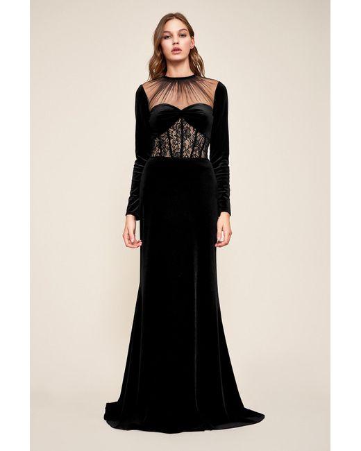 5787fd6bf0df Tadashi Shoji - Black Marcella Long-sleeve Velvet Gown - Lyst ...