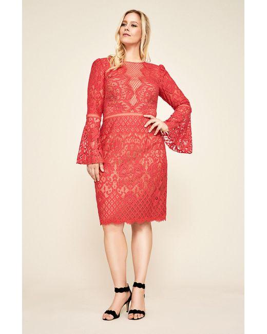 Lyst Tadashi Shoji Kyra Bell Sleeve Lace Dress Plus Size In Red