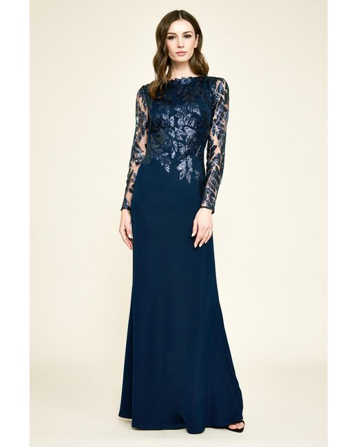 575618ea00 Tadashi Shoji Gaia Long-sleeve Crepe   Sequin Gown in Blue - Lyst