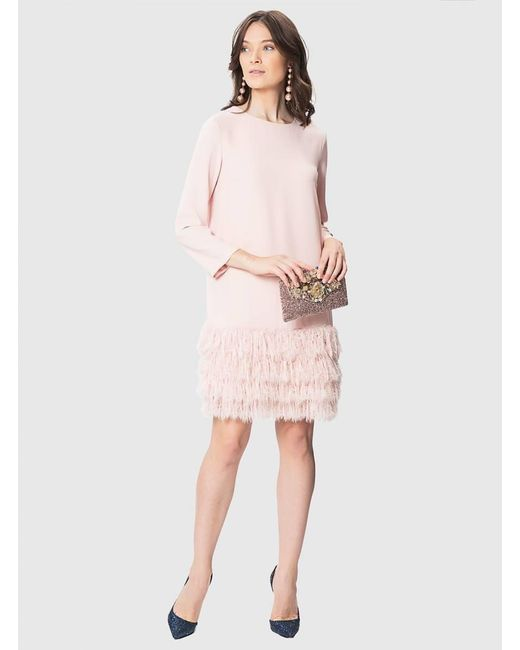 Roman - Pink Blush Dress With Feathers - Lyst