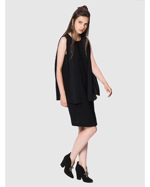 Roman - Black Pleated Dress - Lyst