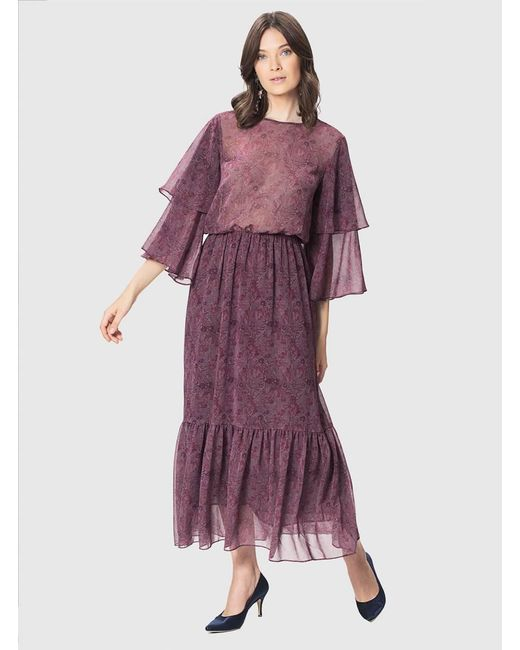 Roman - Purple Patterned Long Dress - Lyst